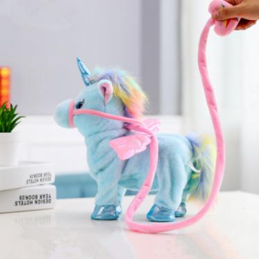 1pc Electric Walking Unicorn Plush Toy soft horse Stuffed Animal Toy Electronic sing Music Unicornio Toy Children Christmas Gift