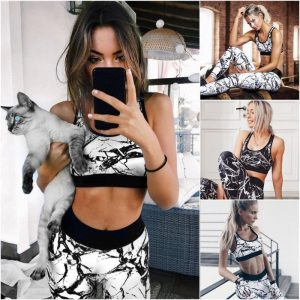 Slim-fit printed sports yoga set