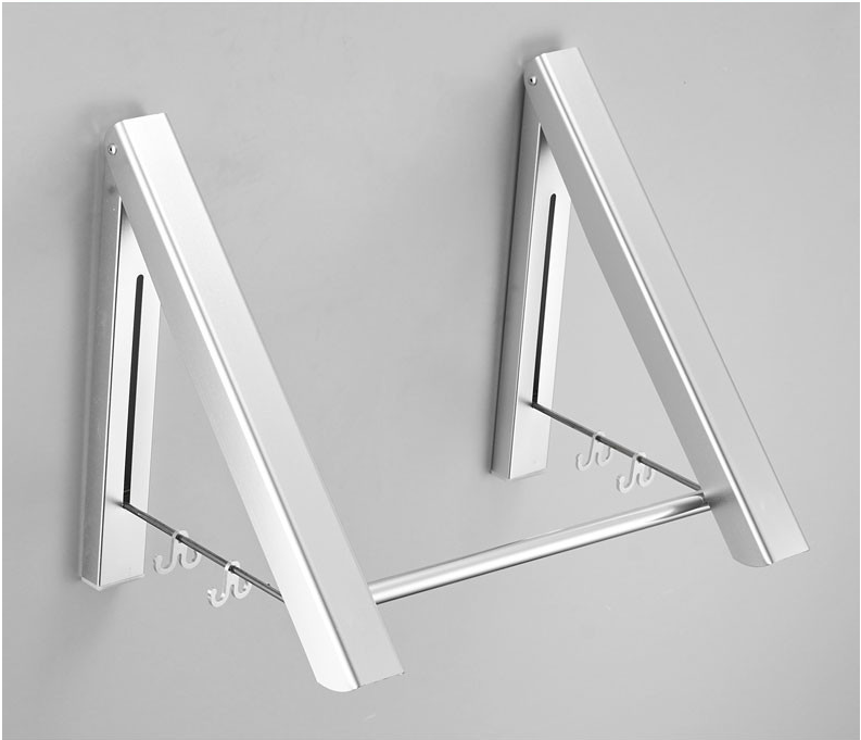 Punch-free Space Aluminum Foldable Invisible Folding Retractable Wall Hanger for Waterproof Hanging Underwear Coat Hanger