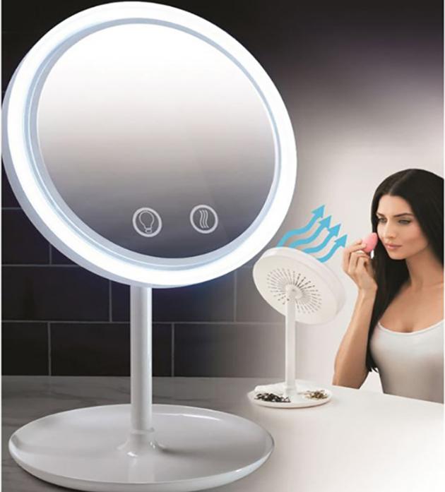 Fan LED Light Makeup Mirror